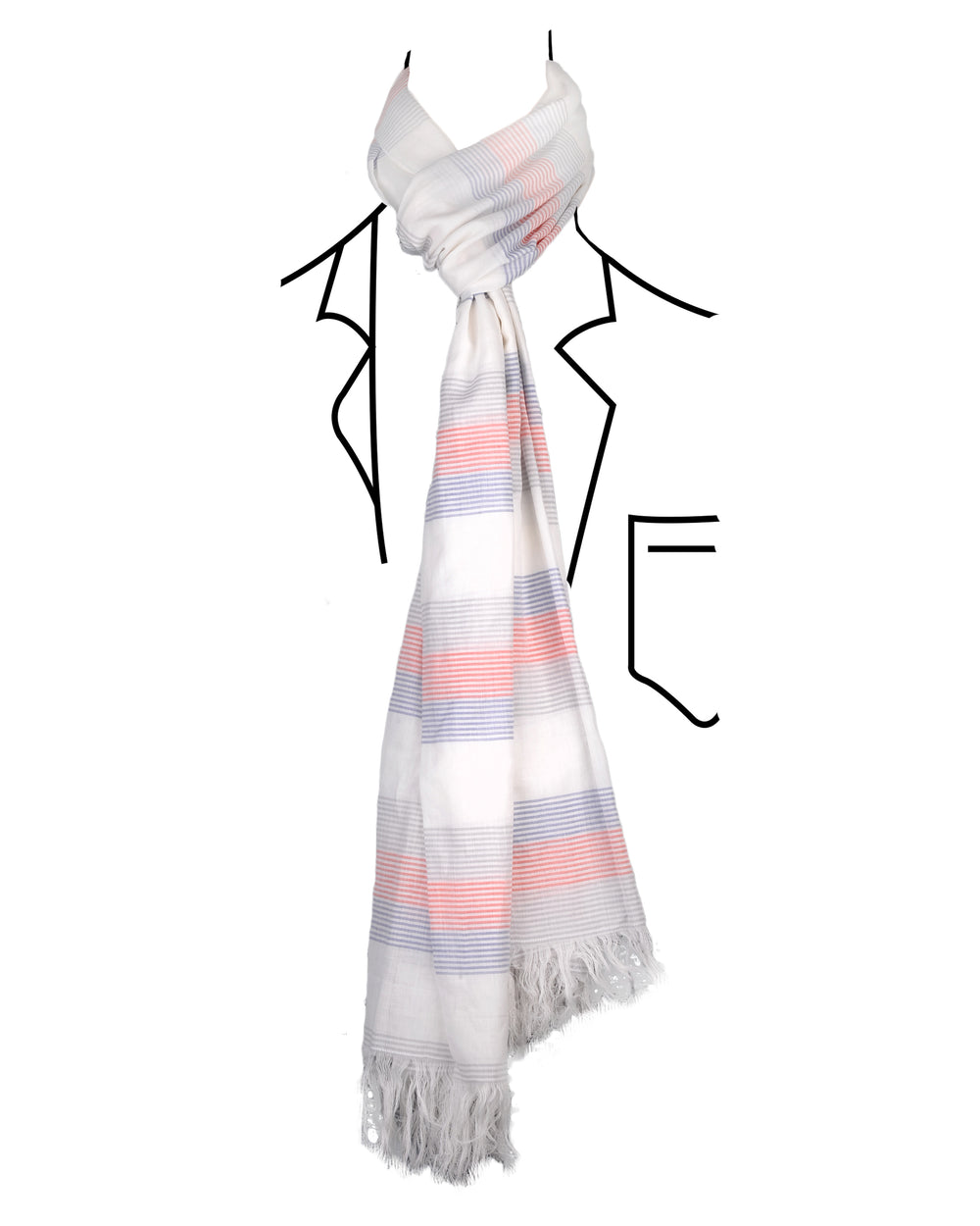 Red Grey Blue Stripes Soft Scarf