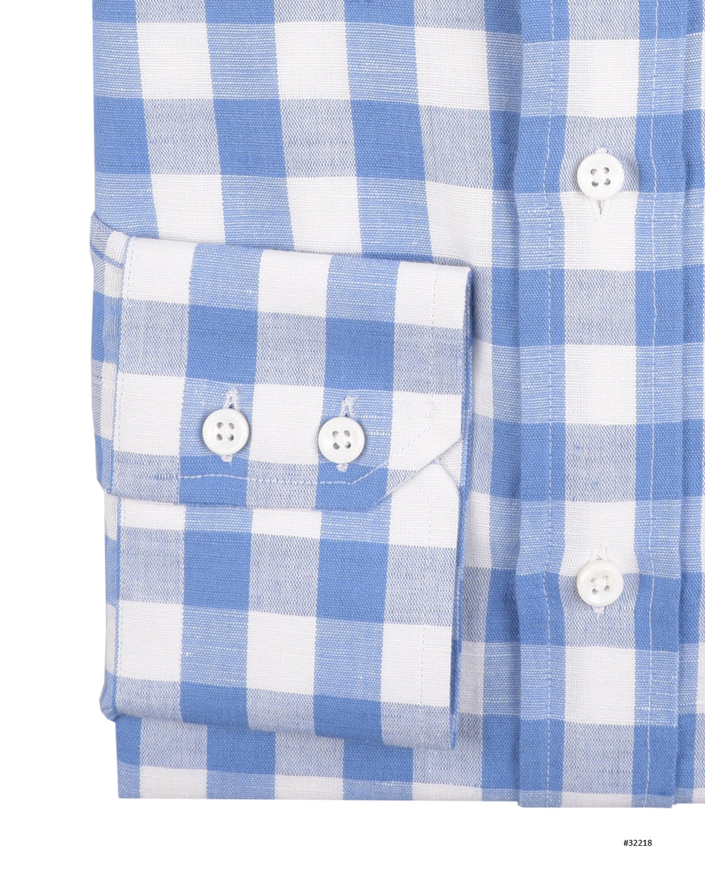 Linen Cotton: Blue Macro Gingham Checks (910819524)