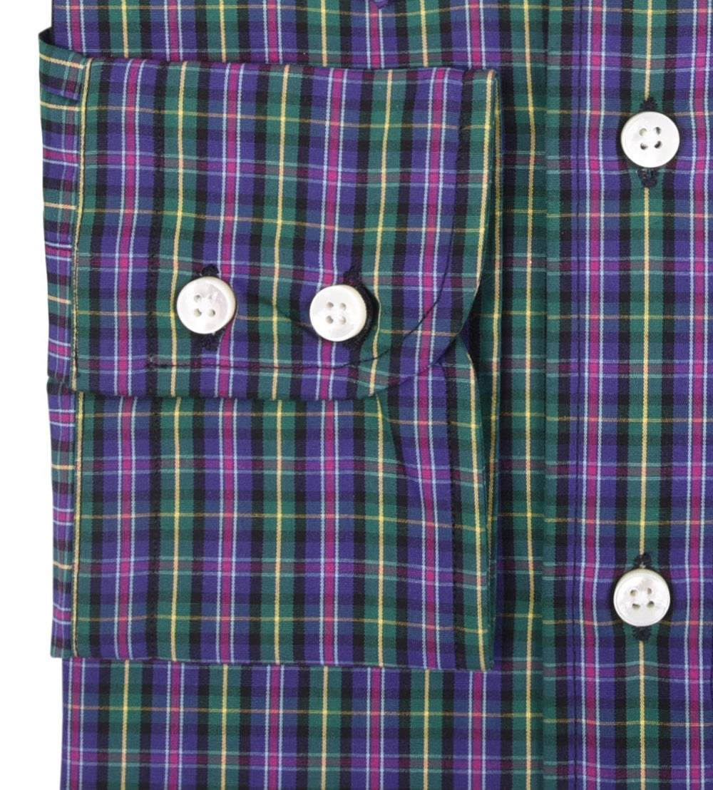 Green Purple Yellow Small Madras Checks