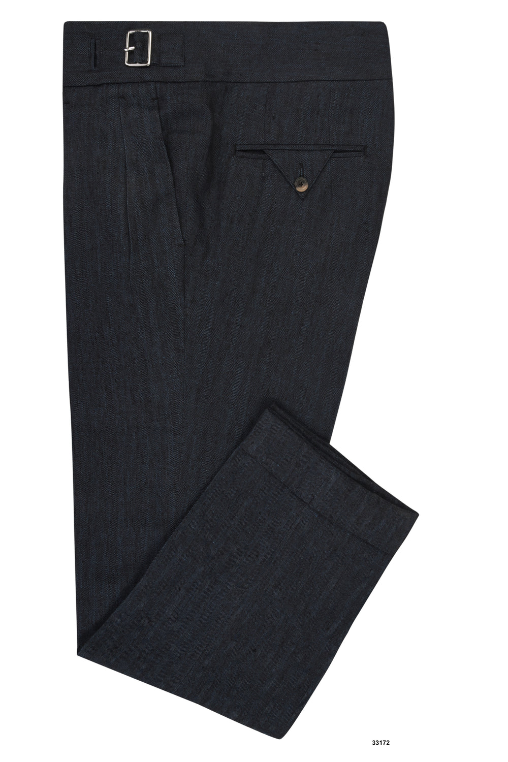 Linen:Blackish Indigo Herringbone Pants (268368701)