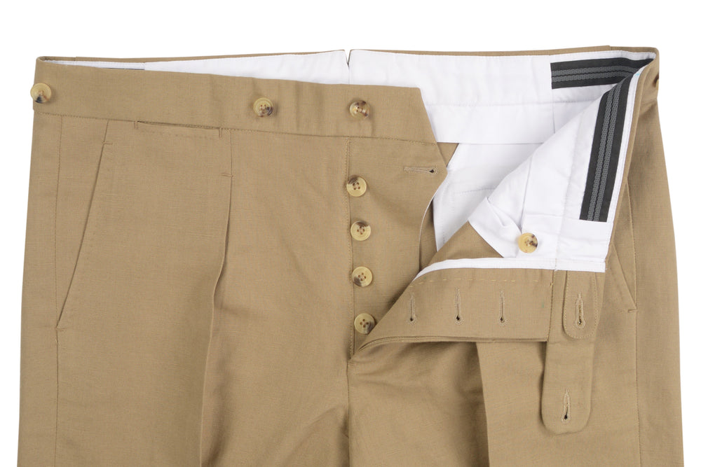 Linen:Khaki Plain Pants (268368601)