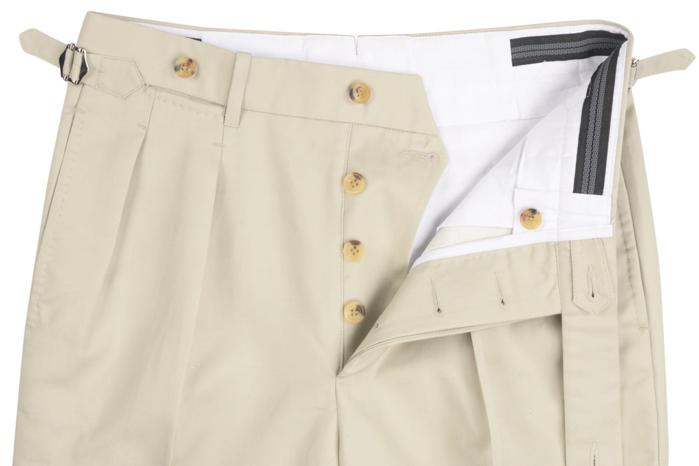 Pale Grey Cream Soft Plain Chinos