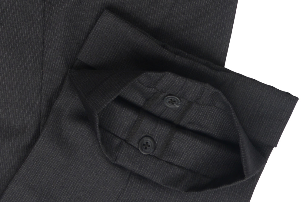 Vitale Barberis Canonico- 110s White Pin Stripes On Dark Grey Twill Flannel