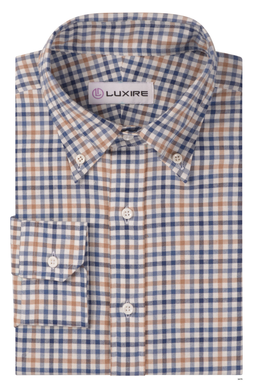 Blue White Brown Small Checks Twill