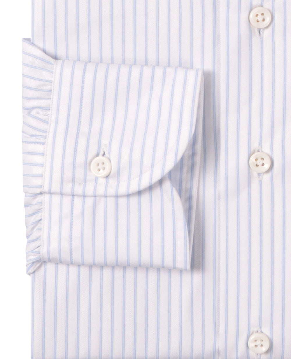 Luxire Priviledge: Pale Blue Pin Stripes On White Dobby