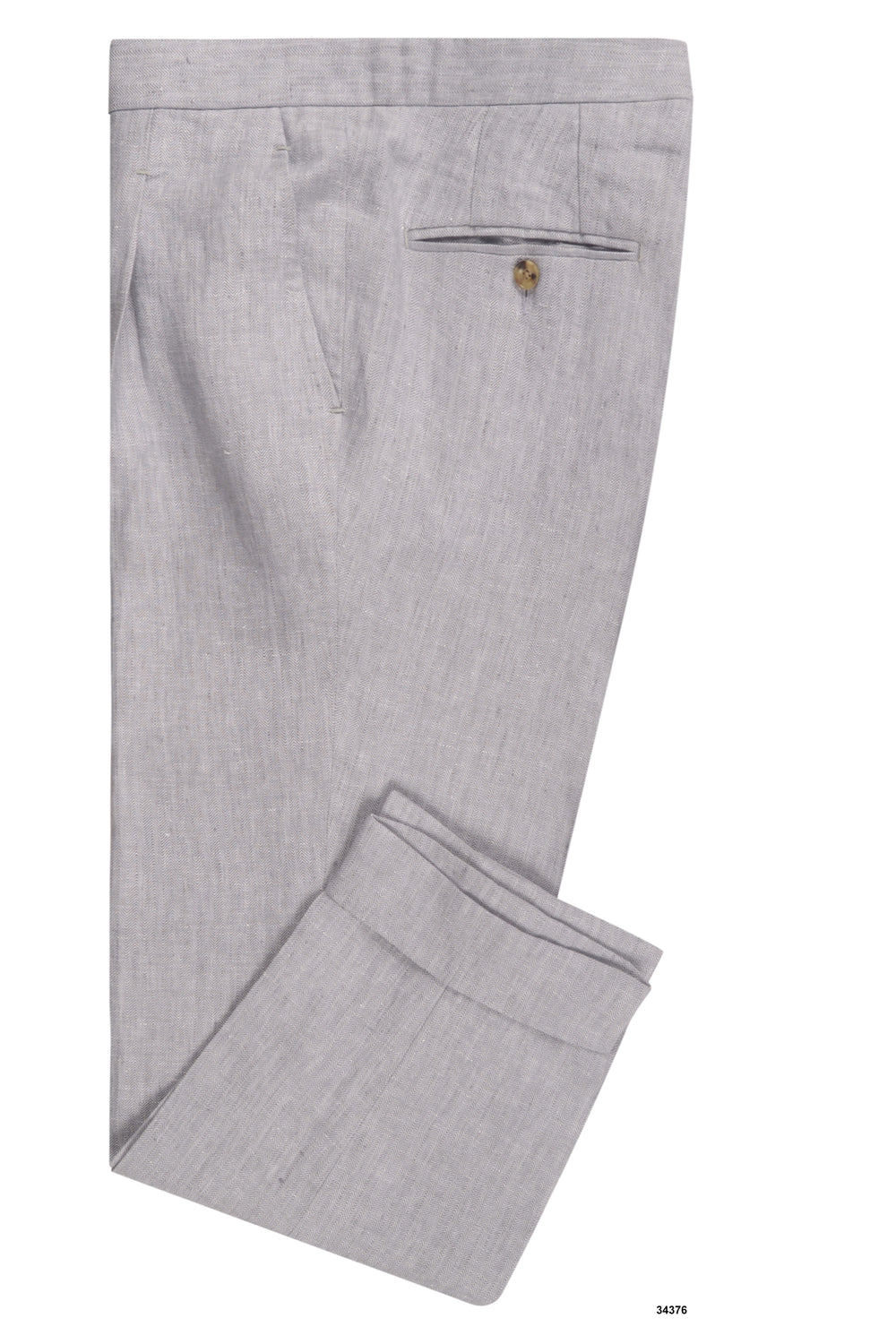 Linen: Pale Grey Herringbone Pants