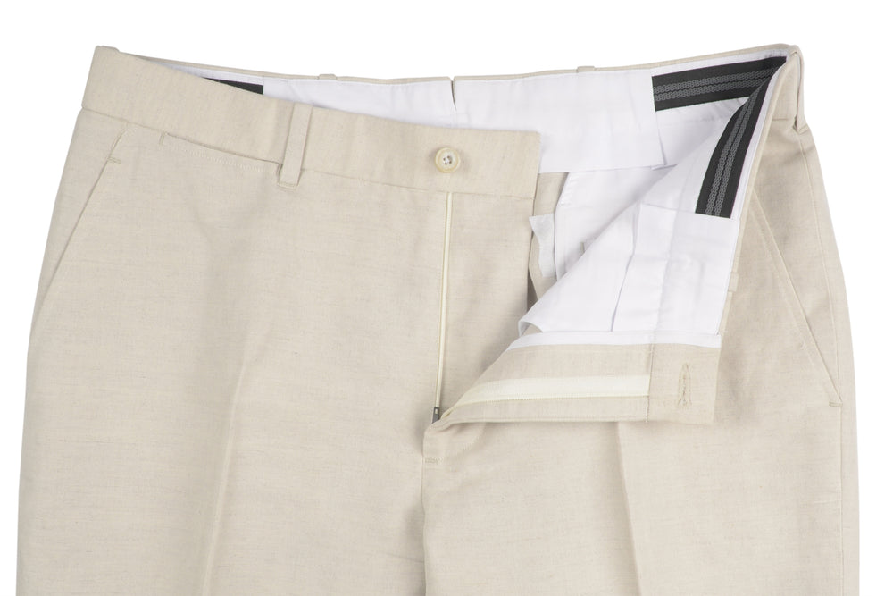 Casual Chino in Ivory Cotton Canvas Linen
