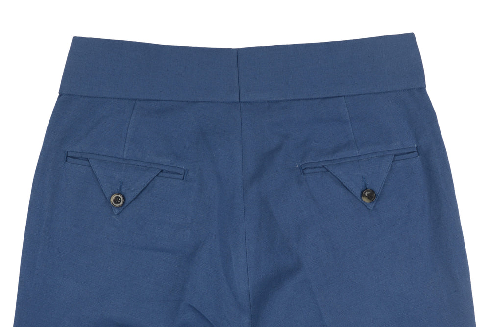 Gurkha Pants in Indigo Cotton Canvas Linen (1582147338295)