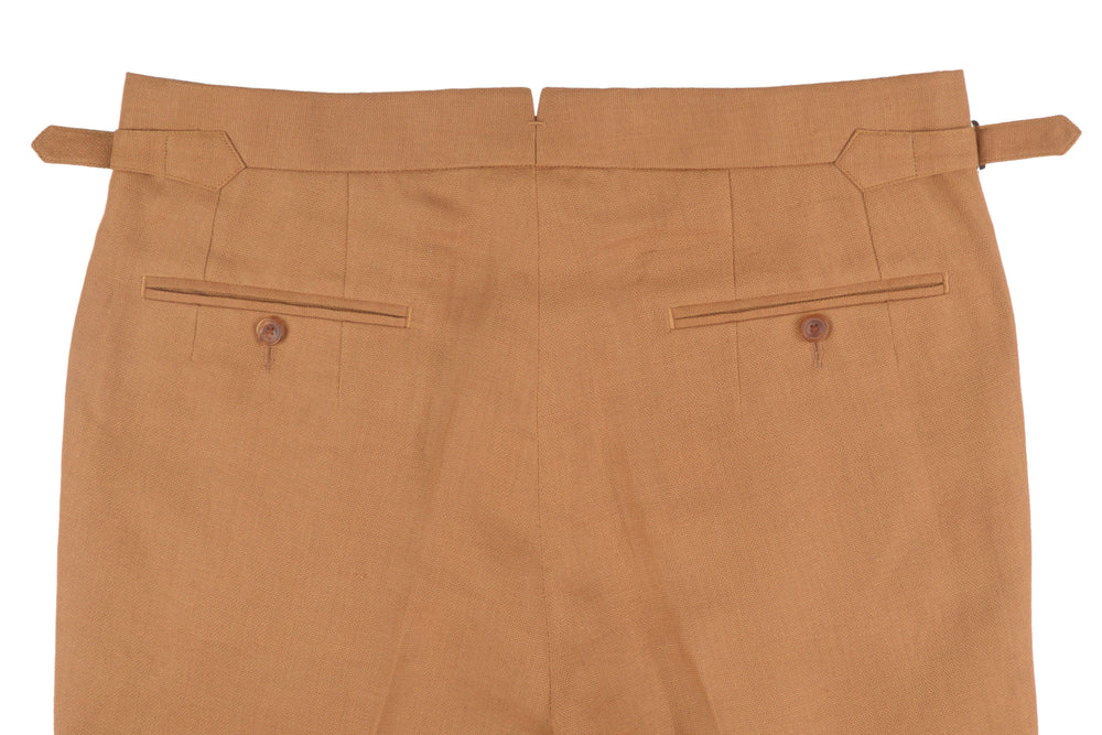 Brown Herringbone Linen Cotton Pants