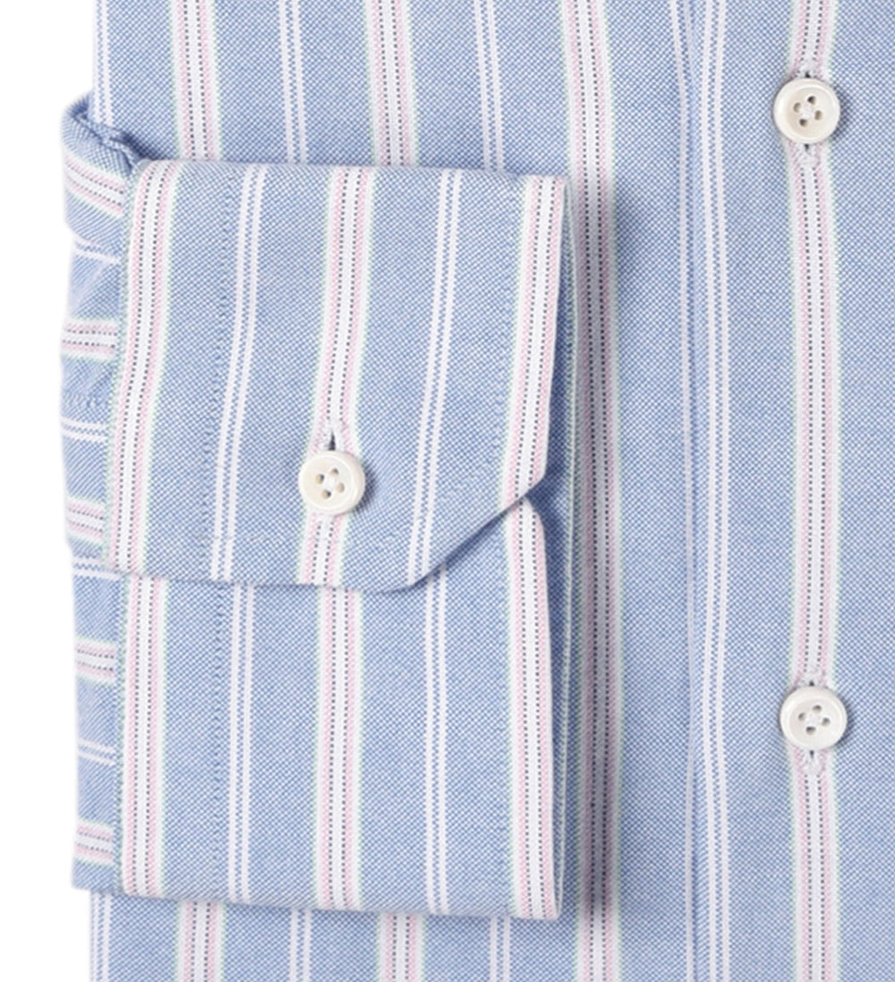Oxford: Pink White Stripes on Blue
