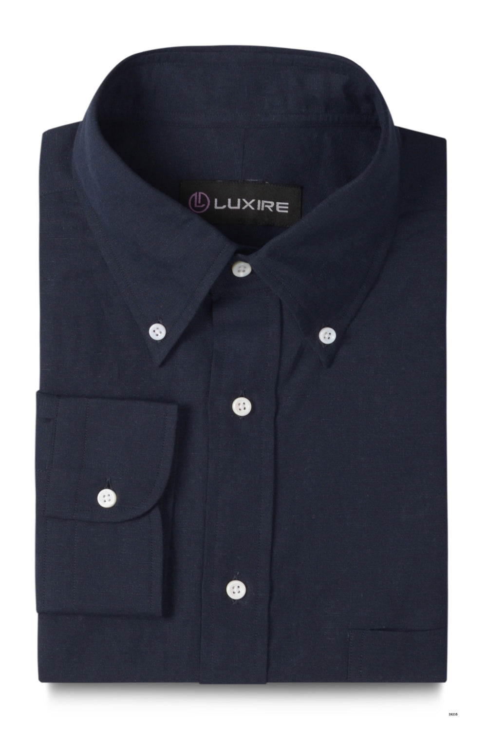 Navy Blue Linen Shirt (279786361)