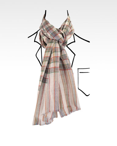Pashmina Cashmere Wool Scarf Cream Red Green Checks