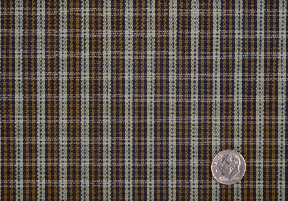 Brown Tan Navy Tartan Checks