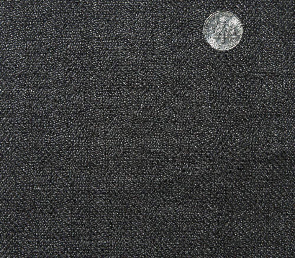 Linen: Dark Grey Herringbone Pants