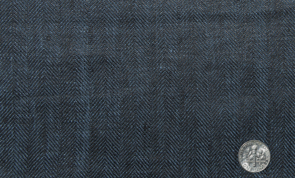 Linen: Indigo Blue Herringbone Pants