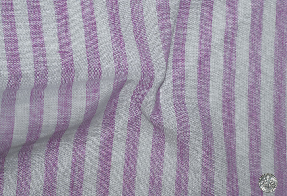 Linen: Pink Bengal Stripes On White
