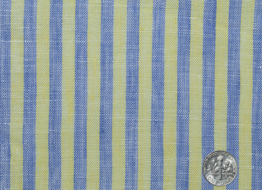 Linen: Yellow Blue Dress Stripes