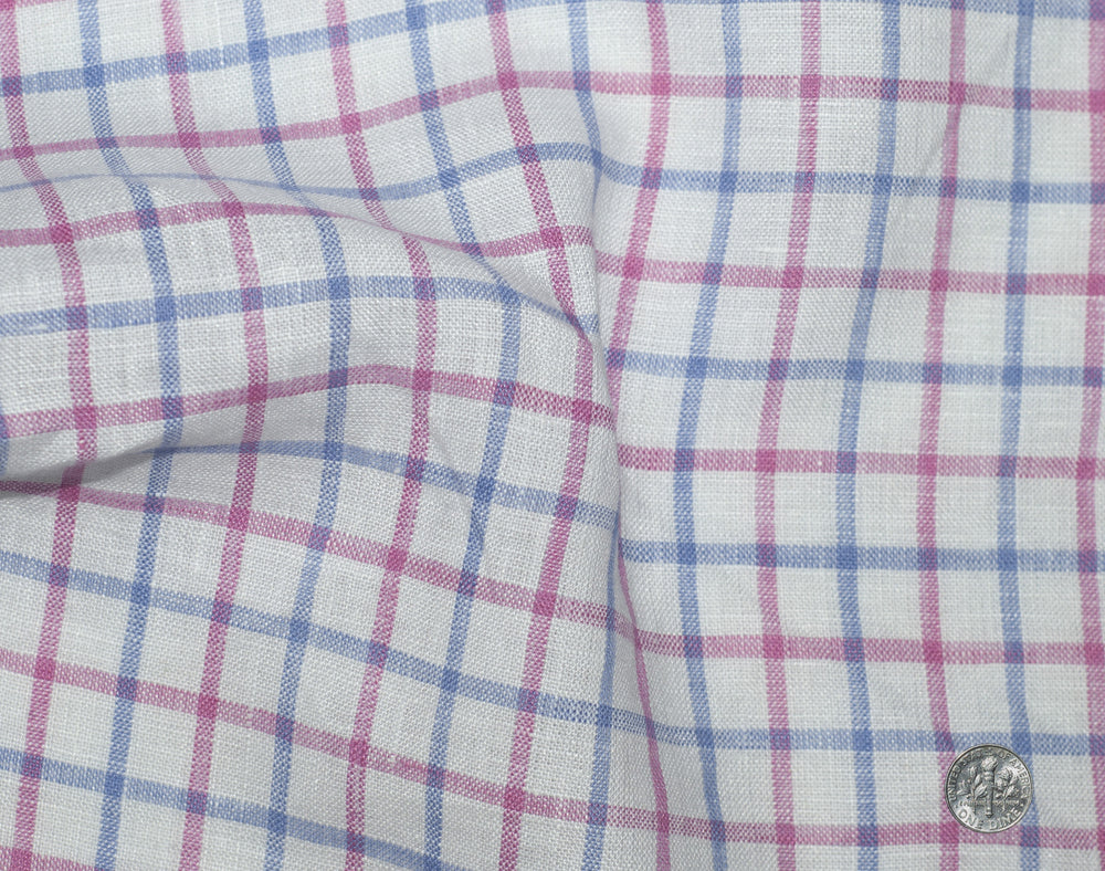 Linen: Pink Blue Tattersall On White (260056961)