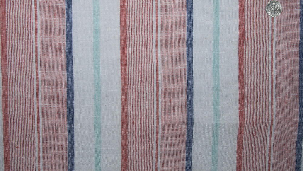Linen: Blue Green Red Madras Stripes (260059425)