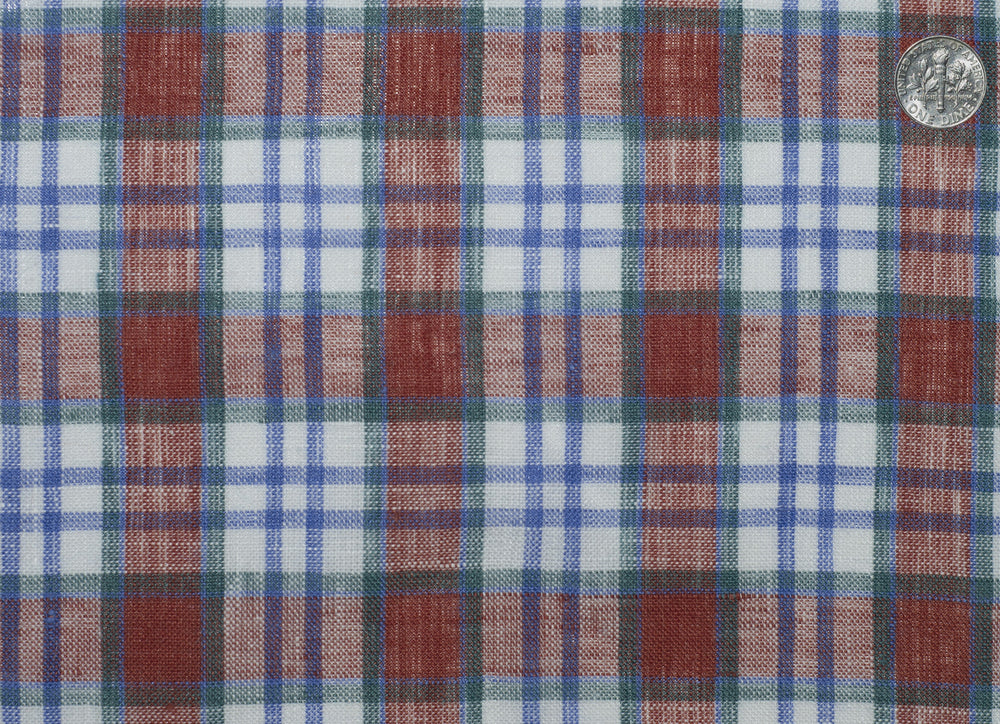 Linen: Blue Red White Madras Tattersall