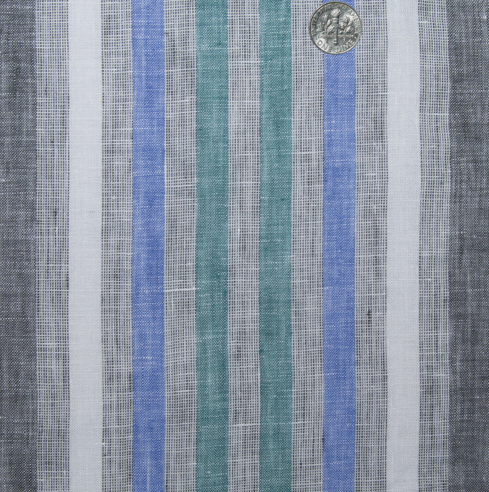 Linen: Green Blue White Tape Stripes On Grey Madras