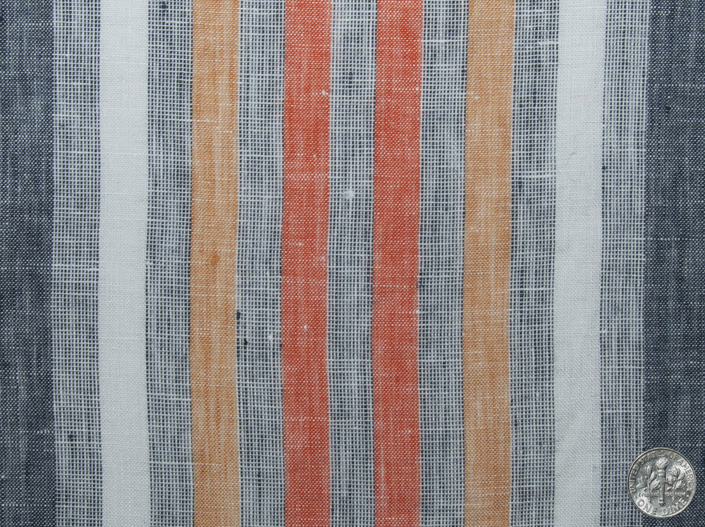 Linen: Orange Red White Grey Tape Stripes Madras