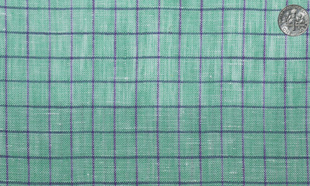 Linen: Persian Green With Pink Blue Pin Graph Checks