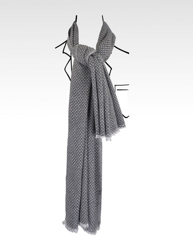 Soft Cashmere Wool Scarf - Black and White Diamond Pattern