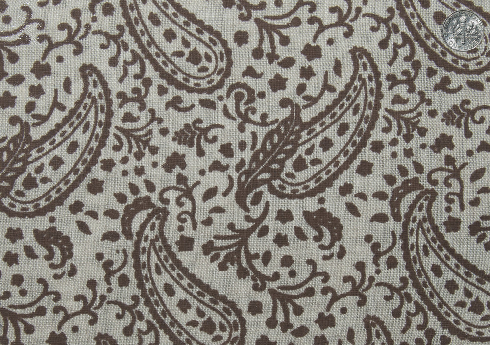 Linen: Brown Printed Paisely (260058485)