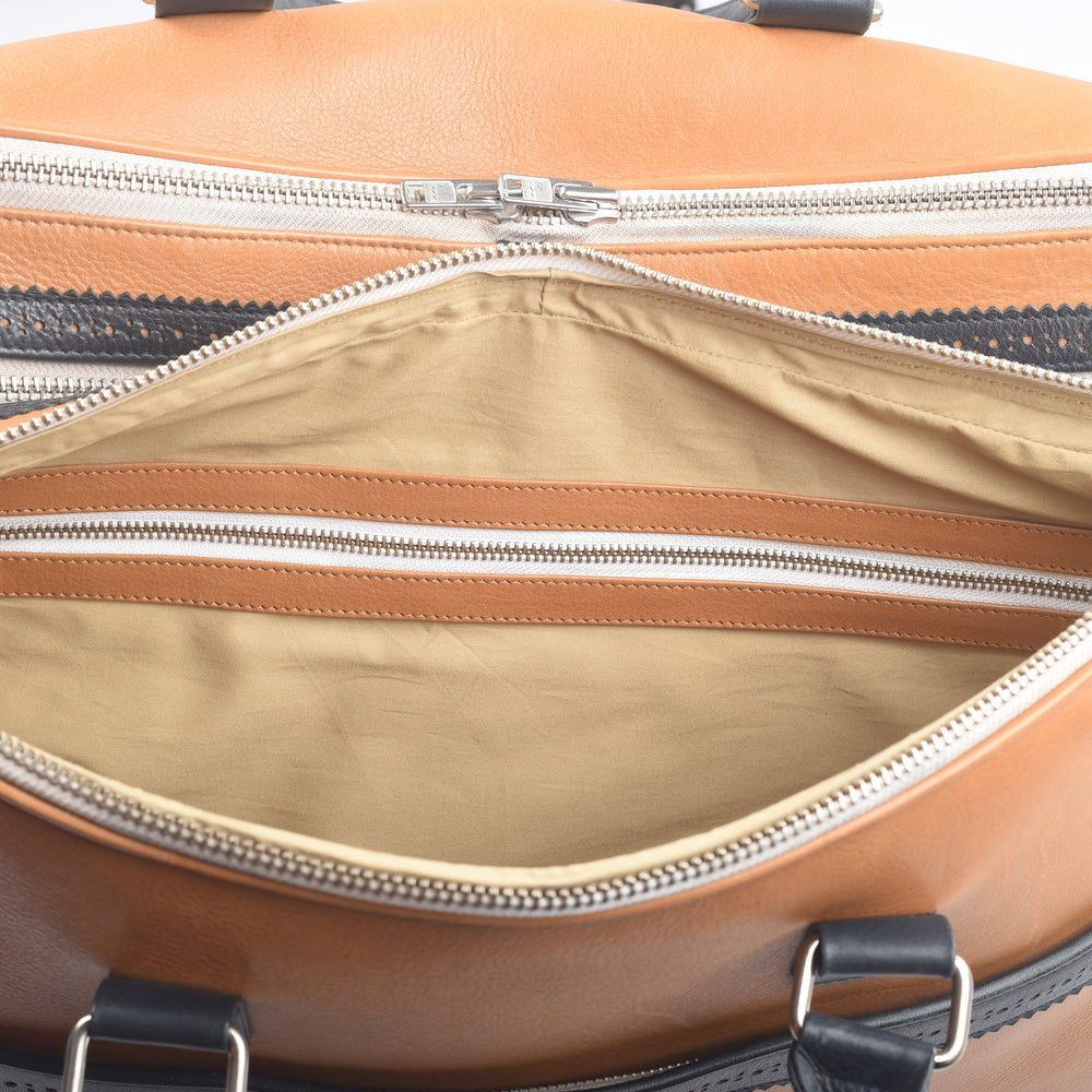 Large Travel Bag in Tan Calf Leather With Navy Trims
