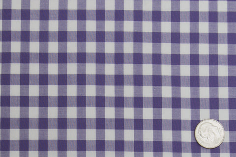 Broad purple Gingham Checks on White