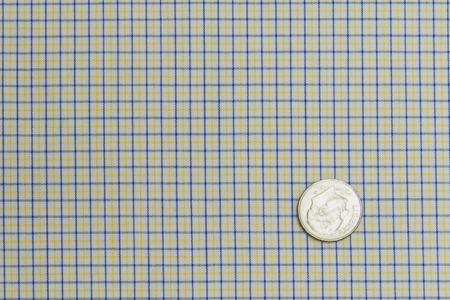 Blue Yellow Tattersall Checks On White (363695689)