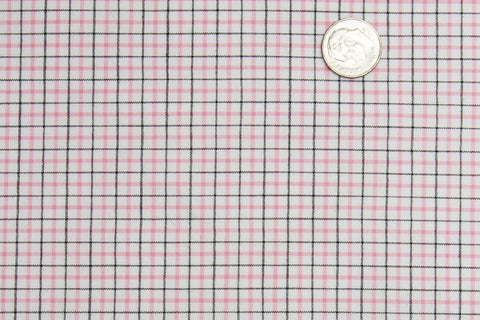 Pink Black Tattersall Checks on White