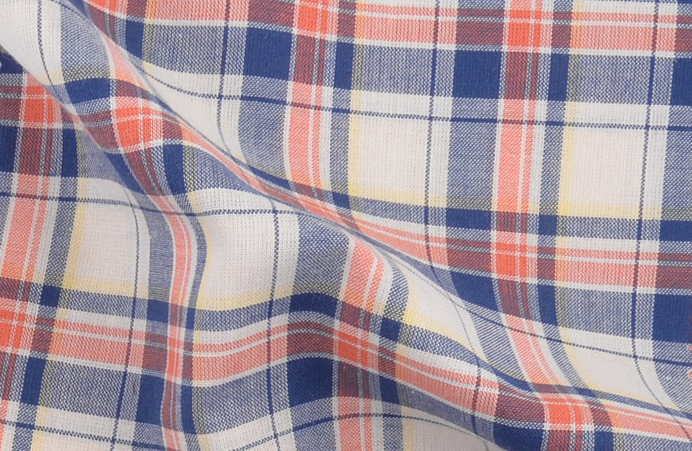 Blue Orange Tartan Checks On Yellow