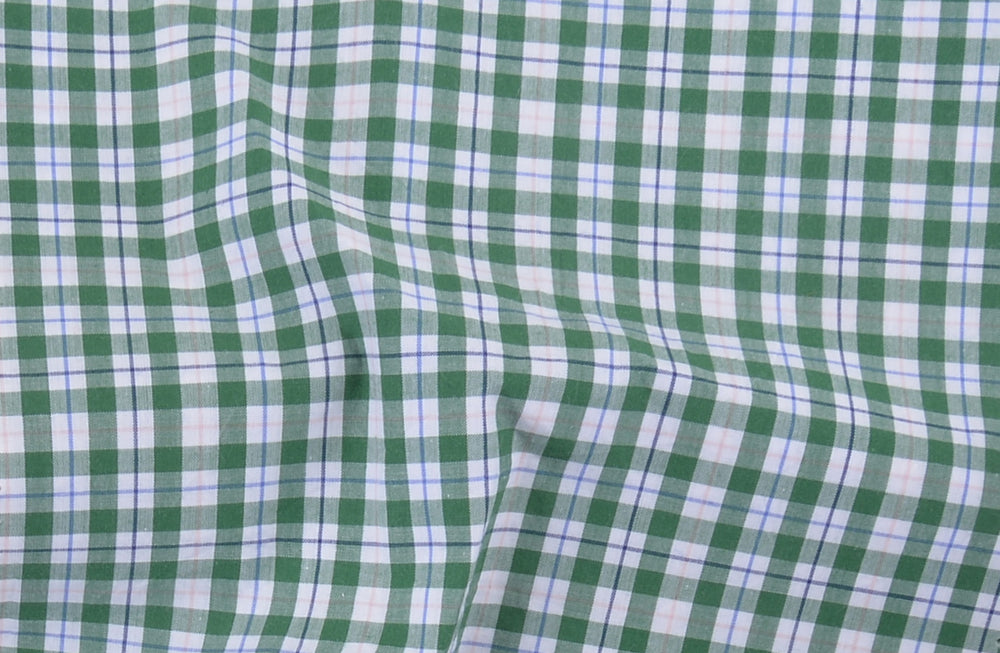 Classic Green Tattersall Checks On White