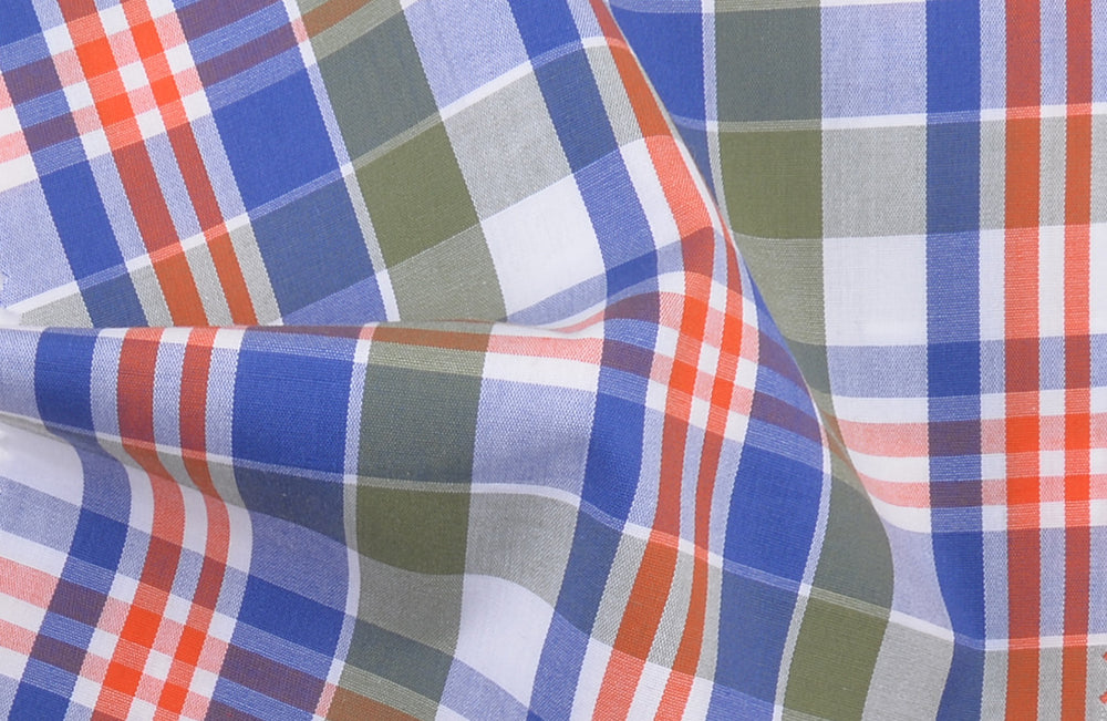 Orange Green Blue Madras Checks