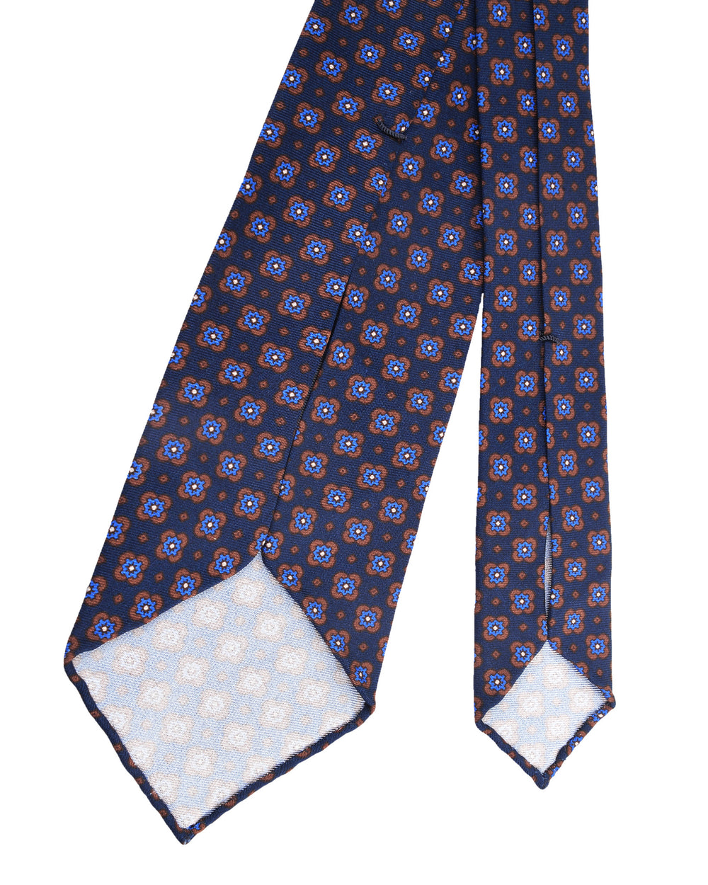 Brown And Blue Flowers On Navy Tie