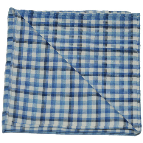Pocket Square - Blue Gingham Oxford