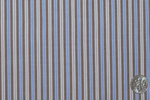 Brown Blue Cream Dress Stripes