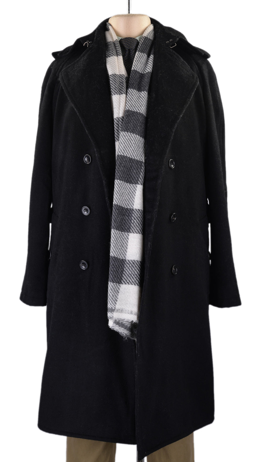 Cashmere Wool Scarf Black White Bold Checks Twill