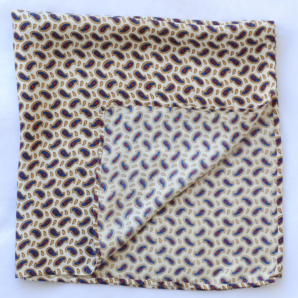 Cream Paisley Pocket Square