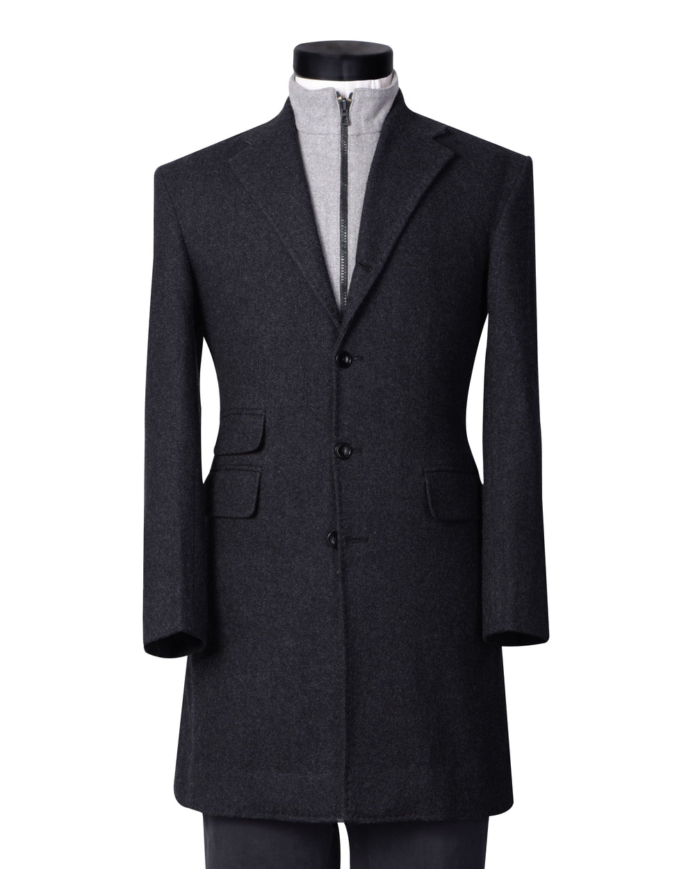Charcoal Grey Wool Flannel Topcoat (4372839170103)