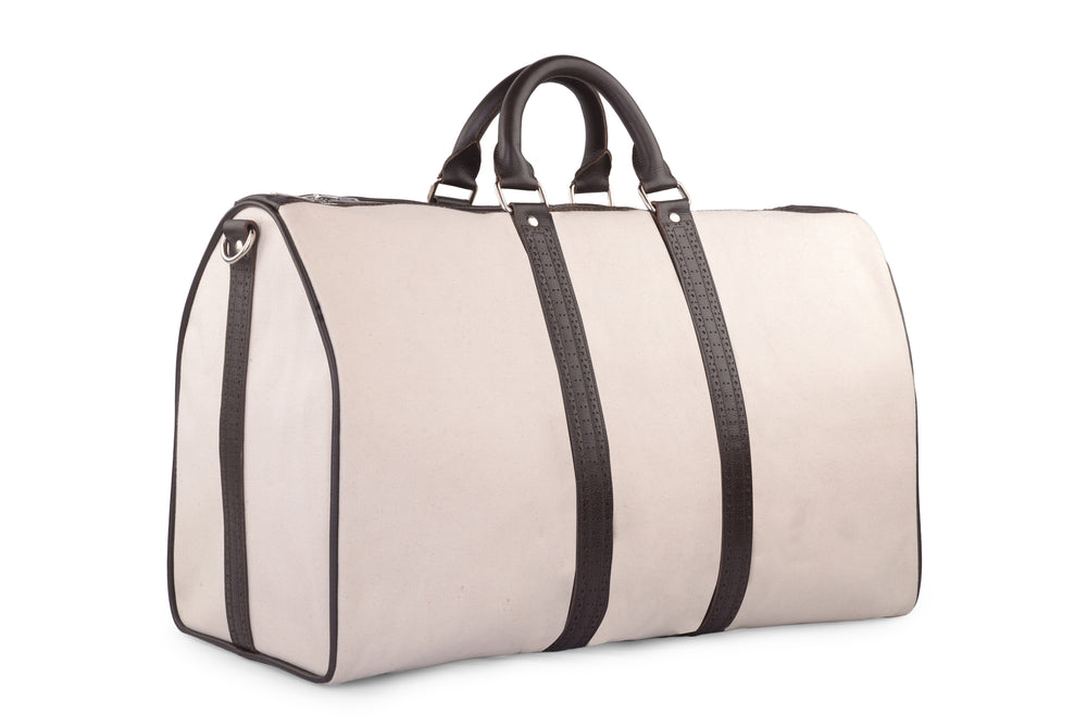 Duffle Bag in Canvas with Brogue Leather Trims (1432778309687)