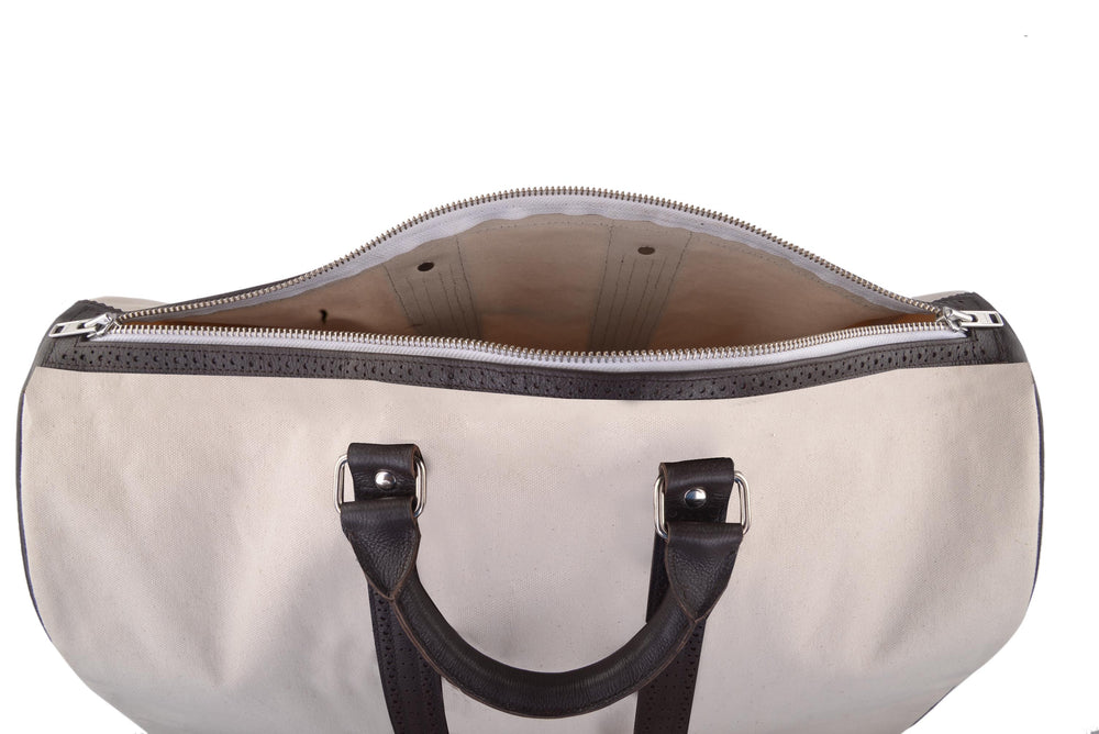 Duffle Bag in Canvas with Brogue Leather Trims