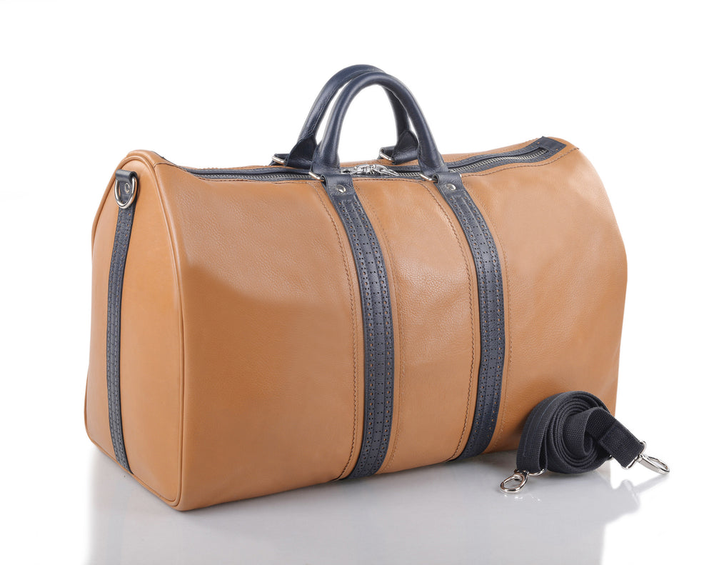 Leather Holdall Bag in Tan with Navy trim
