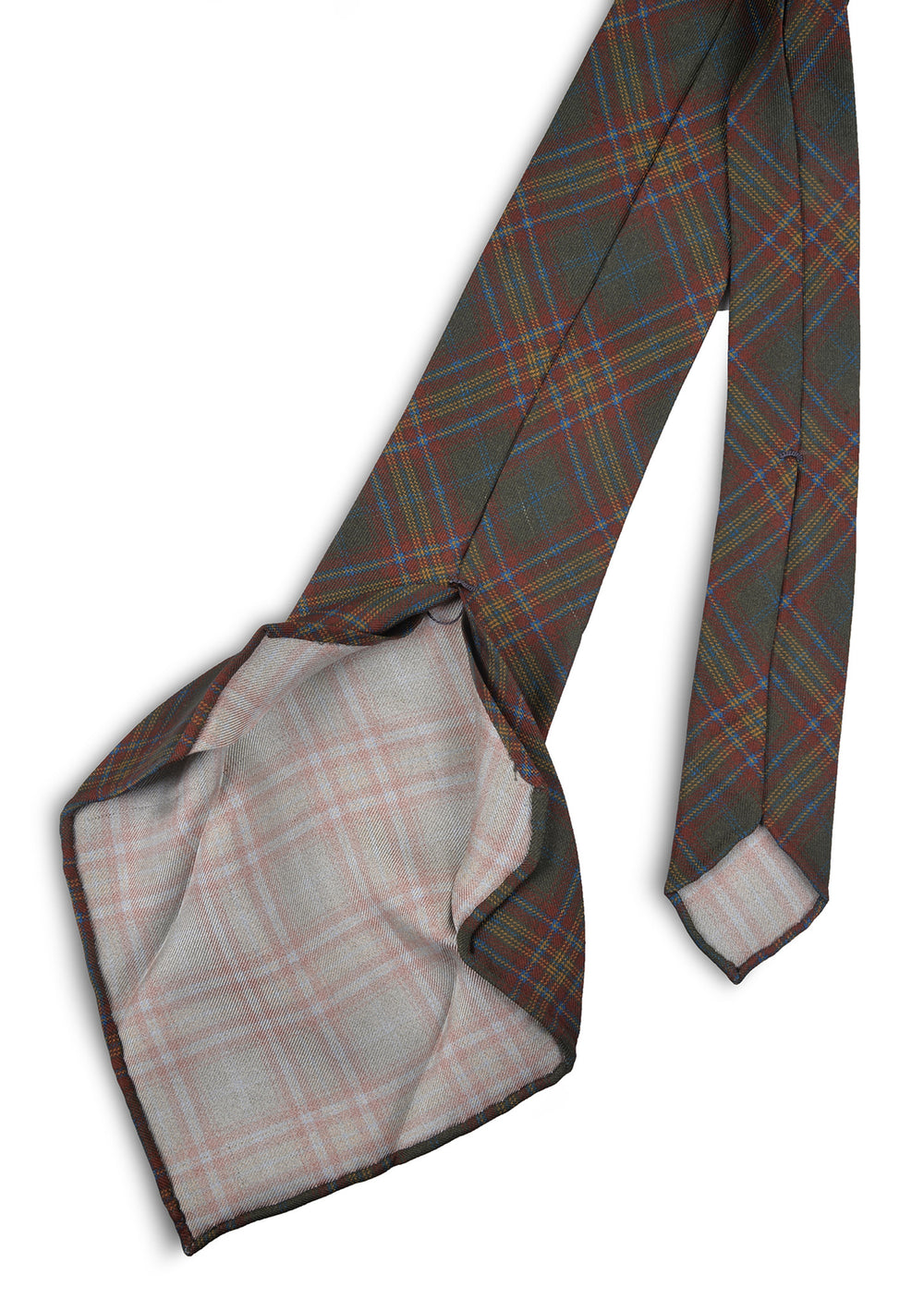Dark Green Red Yellow Checks Tie