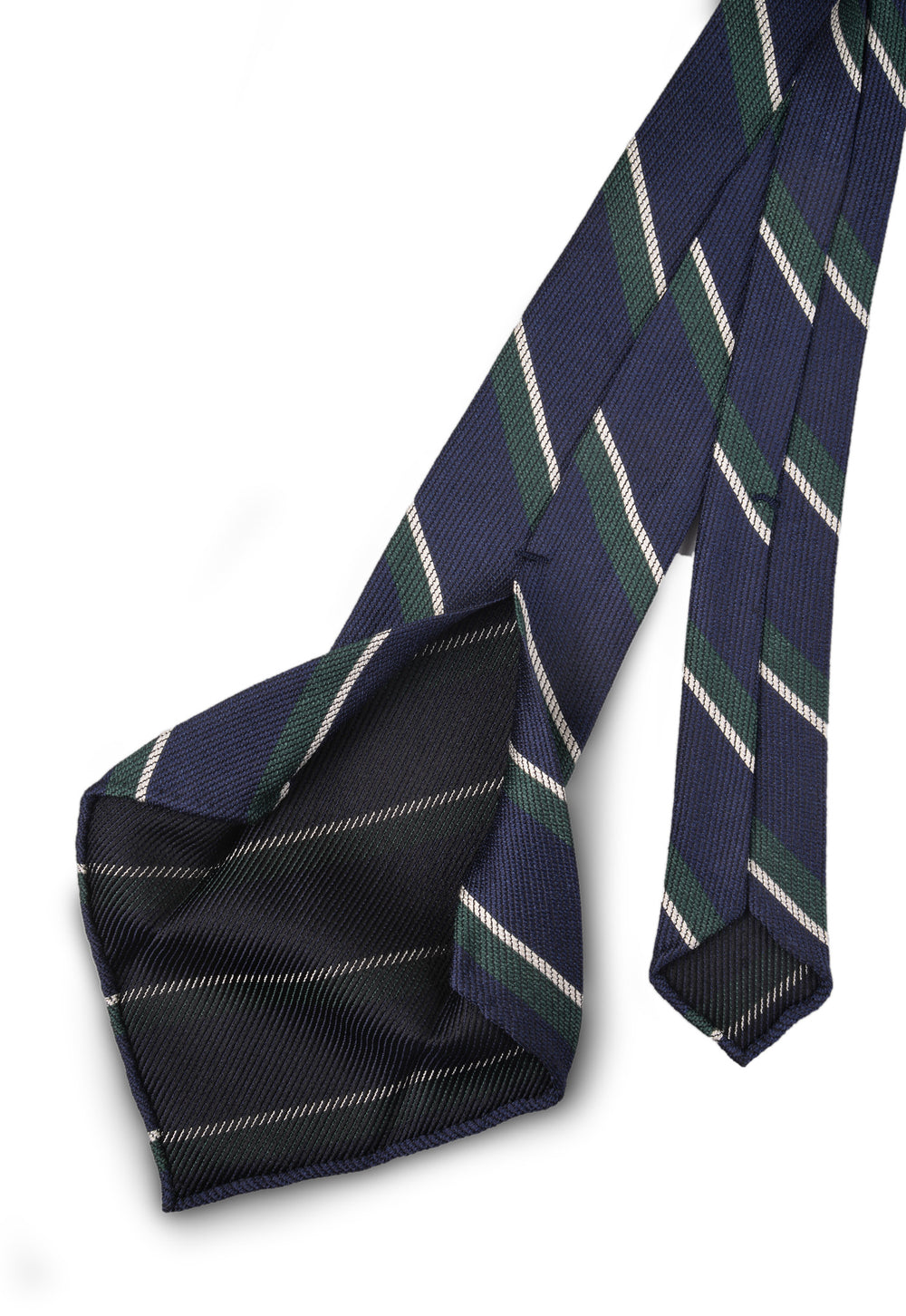 Classic Green Striped Navy Tie