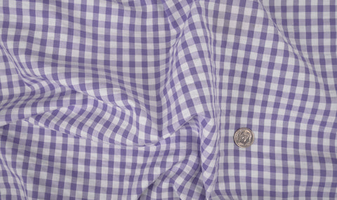 Purple White Gingham Checks Seersucker