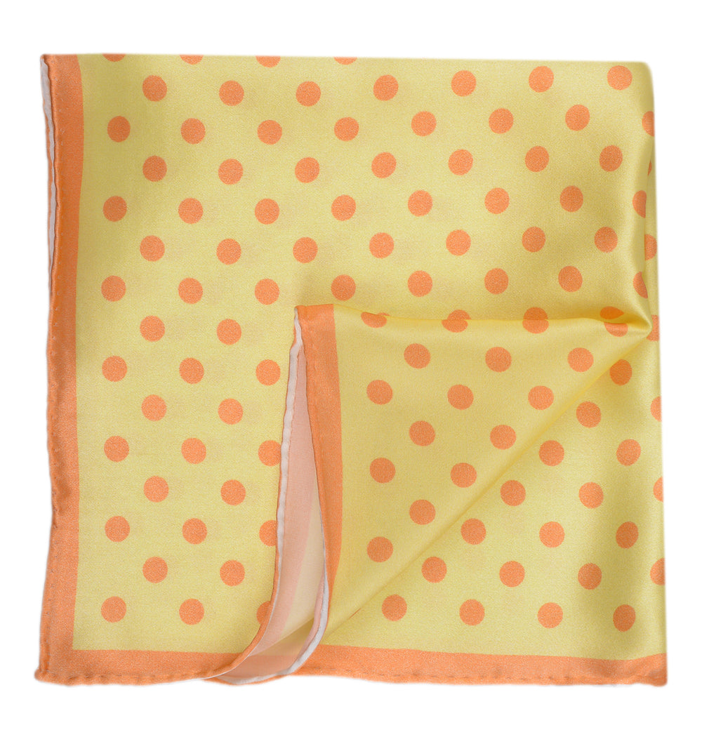 Pocket Square - Big Orange Polka Dots on Yellow (3534643460)
