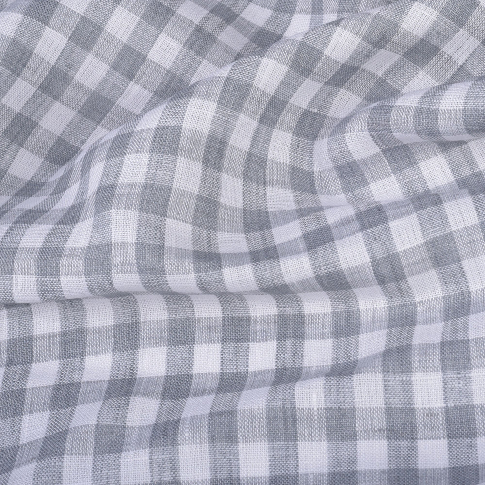 Albini Linen: Grey White Gingham